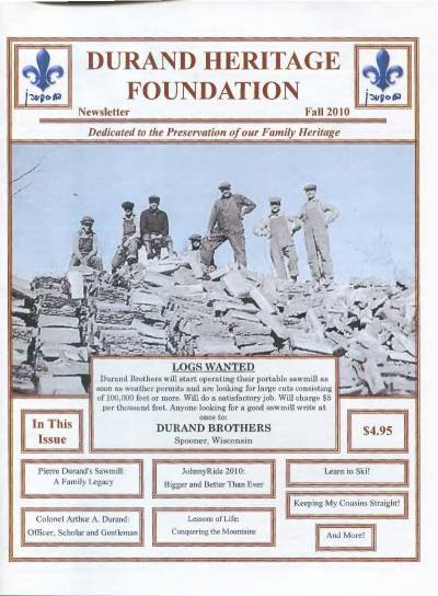 durand, family tree, canada, geneology, heritage, durand heritage foundation, newsletter, french canadian, membership, pierre durand, ellen durand olson, colonel arthur durand, james durand, mike durand