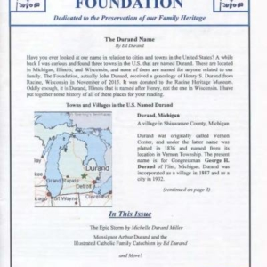 durand, family tree, canada, geneology, heritage, durand heritage foundation, newsletter, french canadian, membership, mike durand, jannyce barnes, mary frances evans, michelle durand miller
