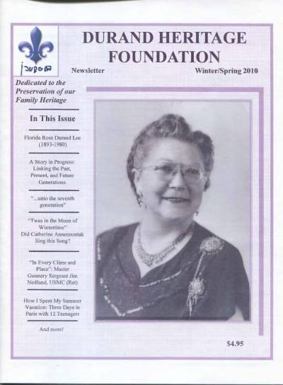 durand, family tree, canada, geneology, heritage, durand heritage foundation, newsletter, french canadian, membership, florida rose durand lee, john durand, jim nedland, jim durand