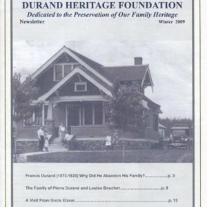 durand, family tree, canada, geneology, heritage, durand heritage foundation, newsletter, french canadian, membership, francis durand, john durand, j elzear durand, ellen durand olson, pierre durand, louise boucher