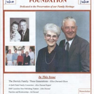 durand, family tree, canada, geneology, heritage, durand heritage foundation, newsletter, french canadian, membership, derrick family, ellen durand olson, alice durand keppel, john durand, ed durand